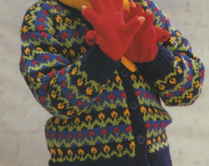 Childrens Fair Isle V Neck Cardigan Knitting Pattern PDF Girls 24, 26, 28 & 30 inch chest, Vintage Knitting Patterns for Children, Download