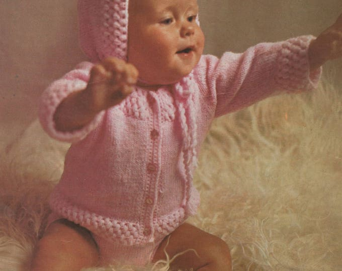 Babies Jacket, Pants, Bonnet and Bootees Knitting and Crochet Pattern PDF Baby Girls 18, 20 and 22 inch chest, Babies Cardigan, Download
