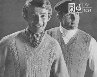 Mens Sweater and Pullover PDF Knitting Pattern : Mans 36, 38, 40, 42 and 44 inch chest . Slipover and Jumper . Instant Download