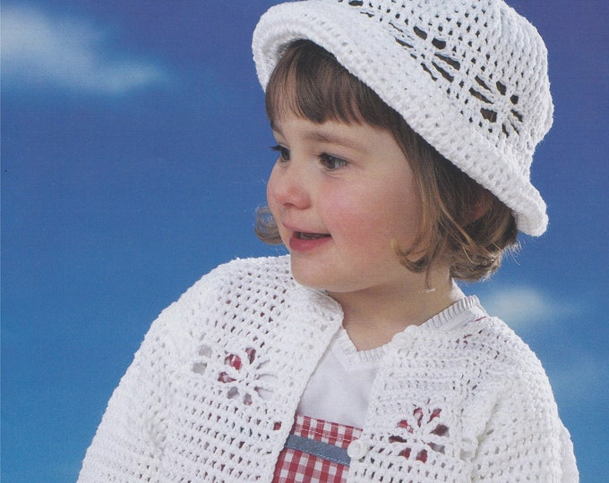 Hat and Cardigan Crochet Pattern PDF for Girls 14, 16, 18, 20, 22 & 24 inch chest, Cotton DK Yarn, Premature Babies to 4 - 5 years, Download
