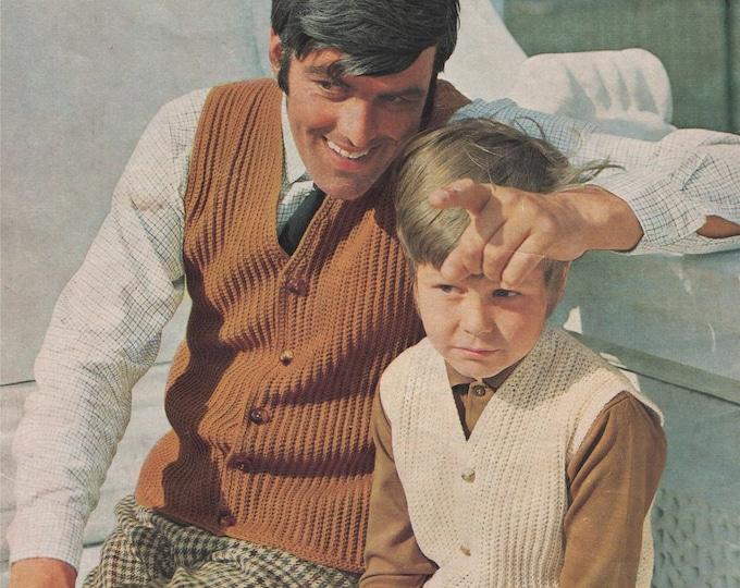 Gilet Waistcoat Crochet Pattern PDF Mens and Boy 28, 30, 32, 34, 36, 38, 40, 42 & 44 inch chest, Vintage Crochet Patterns for Men, Download