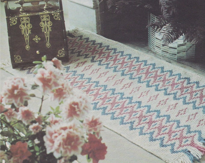 Rug Cross Stitch Pattern PDF plus Waste Bin Cover and Curtain Trim, Vintage X Stitch Patterns for the Home
