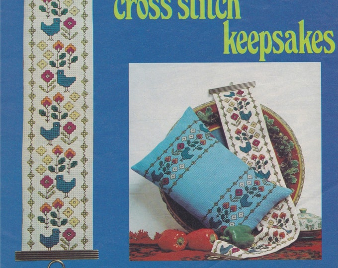 Cross Stitch Pattern PDF for Bell Pull, Apron and Cushion in 2 Designs, Home Accessories, Vintage Cross Stitch Patterns for the Home