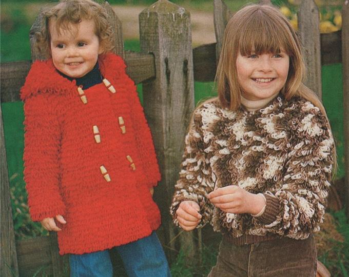 Loop Stitch Jacket Knitting Pattern and Girls Coat Crochet Pattern PDF 22, 24, 26, 28, 30 inch chest, Vintage Knitting Patterns for Children