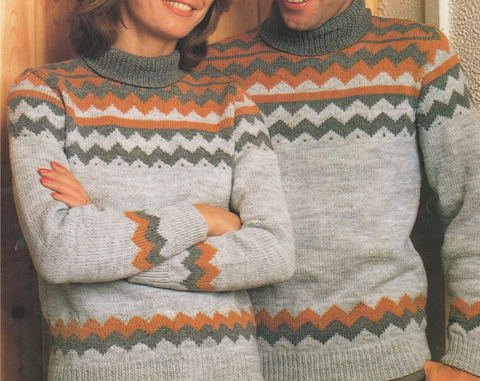 Womens and Mens Fair Isle Sweater Knitting Pattern PDF Ladies and Mens 32, 34, 36, 38, 40 and 42 inch chest, Patterned Jumper, pdf Download