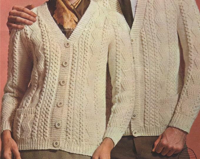 Aran Cardigan with Pockets Knitting Pattern PDF Ladies or Mens 34, 36, 38, 40, 42 & 44 inch chest, Vintage Aran Knitting Patterns, Download