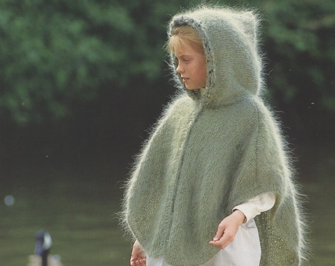 Girls Hooded Cape Knitting Pattern PDF Childrens 24, 26, 28 & 30 chest, Hoodie Poncho, Mohair, Vintage Knitting Patterns, epattern Download