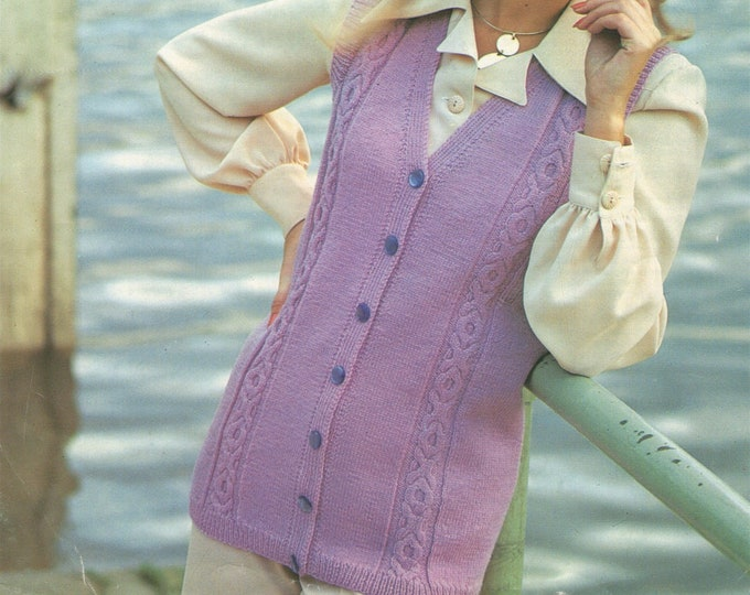 Womens Long Waistcoat Knitting Pattern PDF Ladies 32, 34, 36 and 38 inch chest, Gilet, Vintage Knitting Patterns for Women, pdf Download