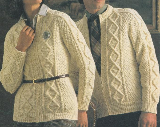Aran Jacket Knitting Pattern PDF Womens or Mens 32, 34, 36, 38, 40 & 42 inch chest, Patterned Aran Cardigan with Zip, Vintage Aran Patterns