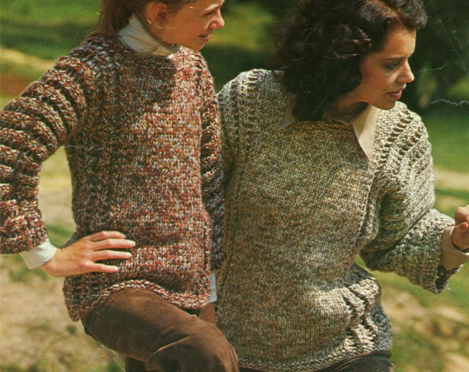 Lacy Sweater Knitting Pattern PDF Women and Girls 24, 26, 28, 30, 32, 34, 36 & 38 inch chest, Jumper, Vintage Knitting Patterns for Women