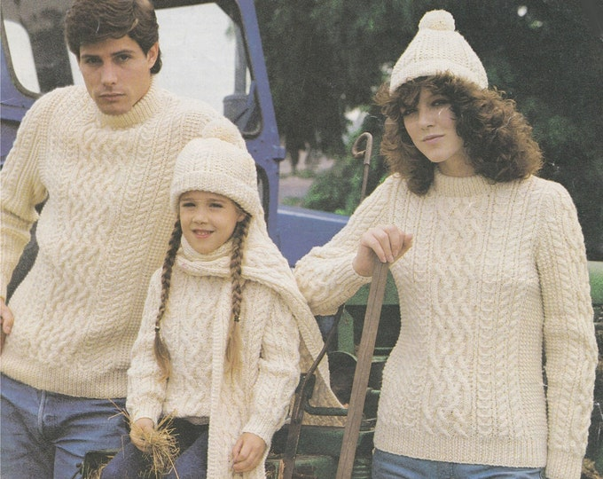 Aran Sweater, Hat and Scarf Knitting Pattern PDF Womens, Mens, Boys and Girls 24 - 46 inch chest, Vintage Family Aran Knitting Patterns