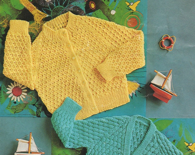 Cardigan Knitting Pattern PDF Toddlers 20, 22 and 24 inch chest, V and Round Neck, Boys or Girls, Vintage Knitting Patterns for Children