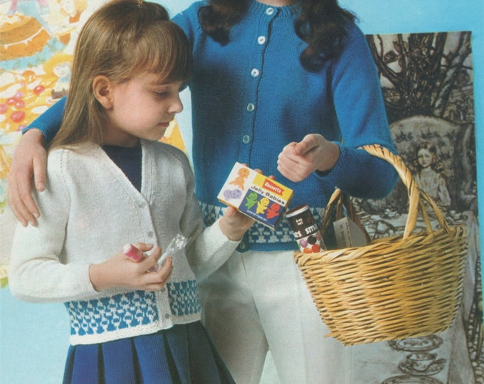 Girls Fair Isle Cardigan Knitting Pattern PDF  22, 24, 26, 28, 30 and 32 inch chest, 4 ply, Round and V Neck Cardigan, e-pattern Download
