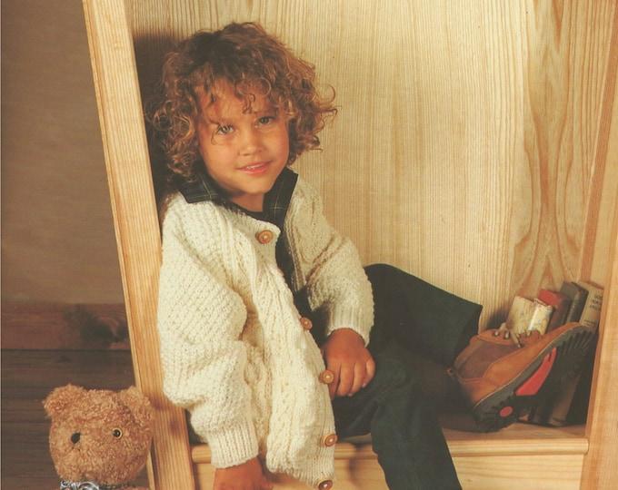 Aran Cardigan Knitting Pattern PDF Boys and Girls 20, 22, 24, 26, 28 & 30 inch chest, Vintage Aran Knitting Patterns for Children, Download