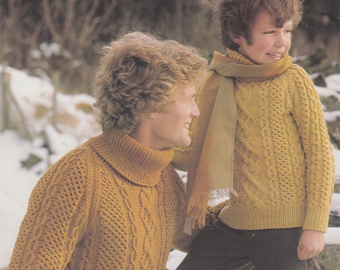 Honeycomb and Cable Patterned Aran Sweater Knitting Pattern PDF Mens or Boys 28, 30, 32, 34, 36, 38, 40, 42, 44 inch chest, Unisex, 10 ply
