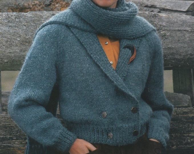 Jacket and Scarf Knitting Pattern PDF Ladies 30 - 32, 34 - 36 and 38 - 40 inch chest, Collar or Hood, Hoodie , Womens Knitting Patterns