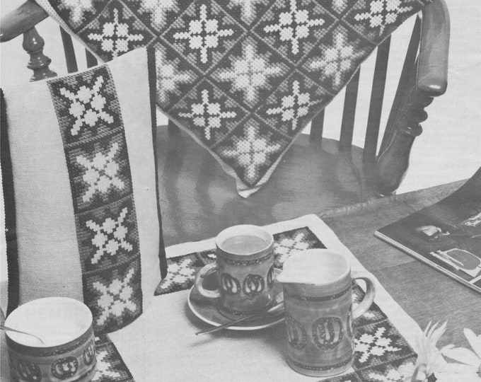 Cushion, Table Mat and Coffee Cosy Cross Stitch Pattern PDF with chart, Embroidery, Tapestry, Vintage Patterns for the Home