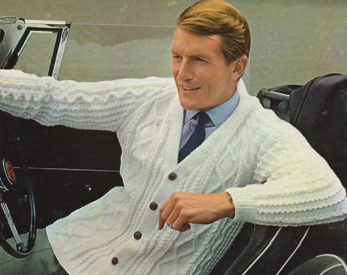 Mens Classic Cable Cardigan Knitting Pattern PDF Mans 40, 42, 44 inch chest, DK yarn, Patterned Aran Style, Vintage Knit Patterns for Men