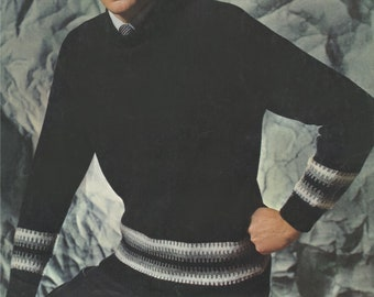 Fairisle Sweater Knitting Pattern PDF . Mans 38, 40 and 42 inch chest . Crew Neck . Vintage Knitting Patterns for Men