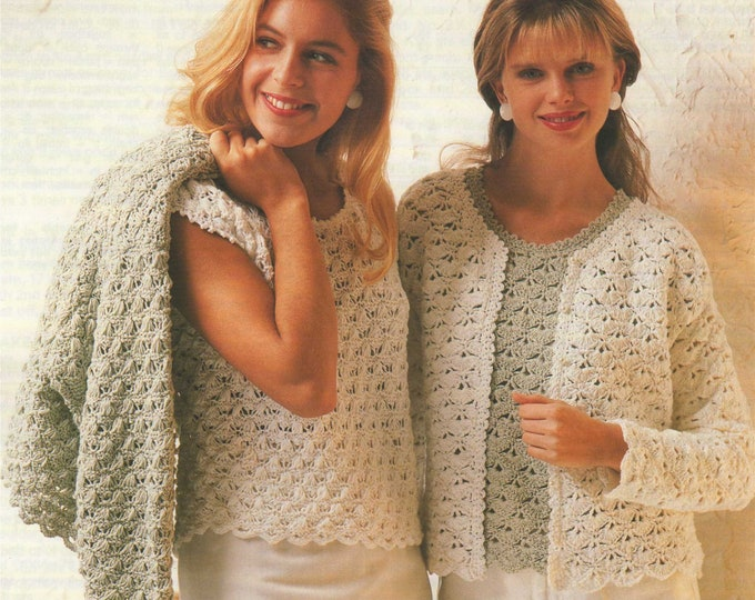 Womens Jacket and Top Knitting and Crochet Pattern PDF Ladies 30 - 32, 34 - 36, 38 - 40 and 42 - 44 inch bust, Vintage Patterns for Women