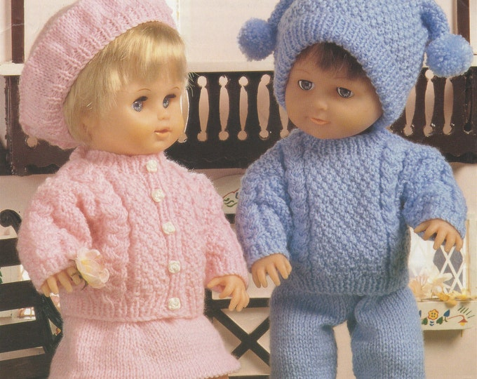 Dolls Clothes Knitting Pattern PDF 12 - 14, 15 - 18 and 19 - 22 inch high Dolly, Vintage Knitting Patterns for your Doll, e-pattern Download