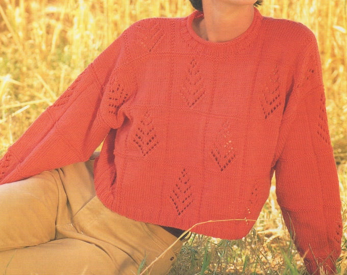 Womens Sweater Knitting Pattern PDF Ladies 32 - 34, 34 - 36, 36 -  38 and 38 - 40 inch chest, Short Jumper, Patterned, e-pattern Download