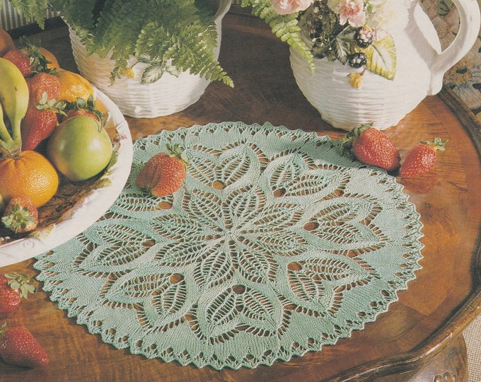 Doily Knitting Pattern PDF Knitted Table Mat, Placemat, Table Linen, Home Accessories, Vintage Knitting Patterns for the Home, PDF Download