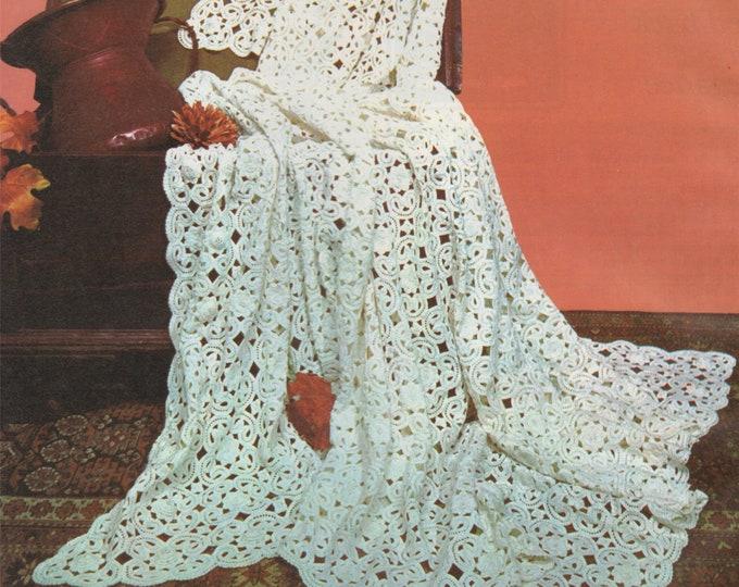 Bedspread Crochet Pattern PDF Irish Lace Crochet Bed Cover, Heirloom Project, Bedroom Throw, Vintage Home Crochet Patterns, Download