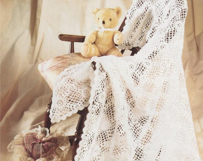 Babies Shawl Crochet Pattern PDF for Baby Boys or Girls, 2 ply Yarn, Square Christening Shawl, Vintage Crochet Patterns for Baby, Download