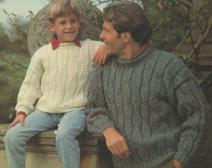 Aran Sweater Knitting Pattern PDF Mens, Womens, Boys and Girls 26, 28, 30, 32, 34, 36 - 38, 40 and 42 - 44 inch chest, Family Aran Patterns