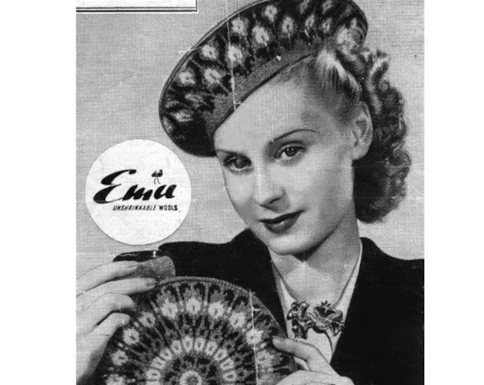 Womens Fair Isle Beret and Bag Knitting Pattern PDF, Ladies Winter Accessories, Vintage Fair Isle Knitting Patterns for Women