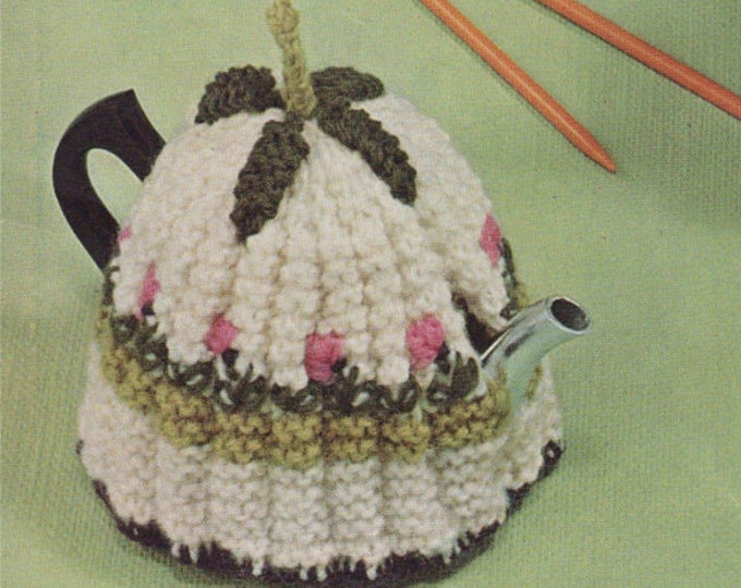 Tea Cosies and Coffee Pot Cosy Knitting Pattern PDF, Tea Cosy in 2 designs, Vintage Knitting Patterns for the Home, epattern Download