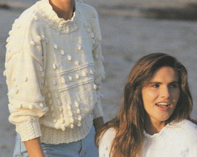 Womens Aran Sweater Knitting Pattern PDF Ladies 28 - 30, 32 - 36 & 38 - 40 inch chest, Patterned Jumper, Vintage Knitting Patterns for Women