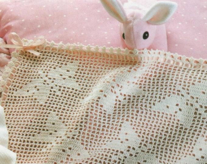 Babies Cot Coverlet Crochet Pattern PDF Baby Boys or Girls Butterfly Blanket, Butterflies Blanket, Vintage Crochet Patterns for Babies