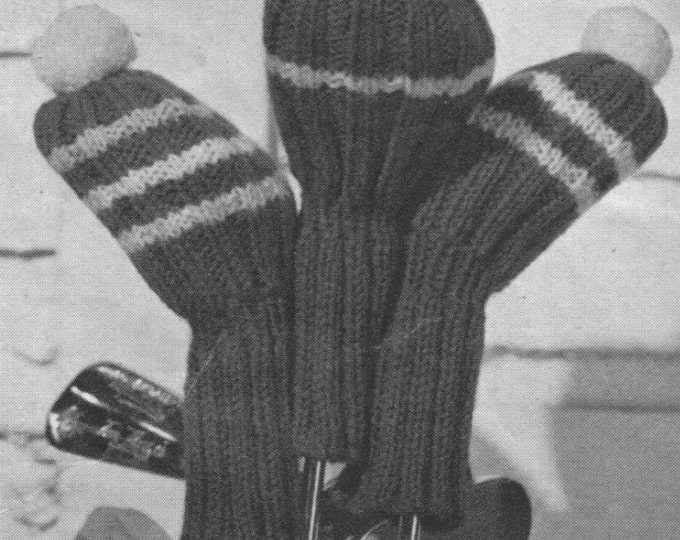 Golf Club Covers Knitting Pattern PDF Vintage Gift Knitting Patterns for the Golfers