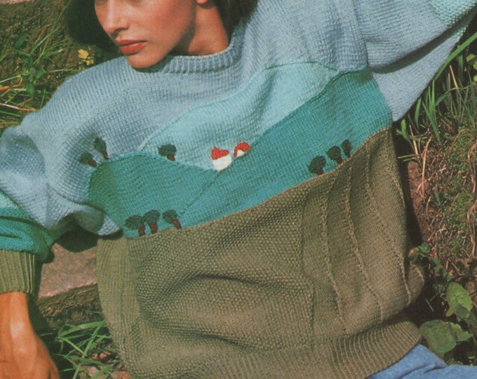 Womens Sweater Knitting Pattern PDF Ladies 33 - 34,  36 - 38 and 39 - 41 inch chest, Picture Jumper Landscape Scene, epattern Download