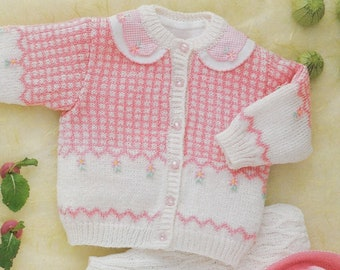 cb4d4cd49cb9 Babies Fair Isle Cardigan and Hat Knitting Pattern PDF Baby