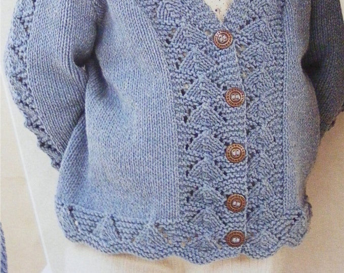 Girls Cardigan Knitting Pattern PDF Childrens and Toddlers 20, 22, 24, 26, 28 and 30 inch chest, Lacy Patterned, e-pattern Digital Download