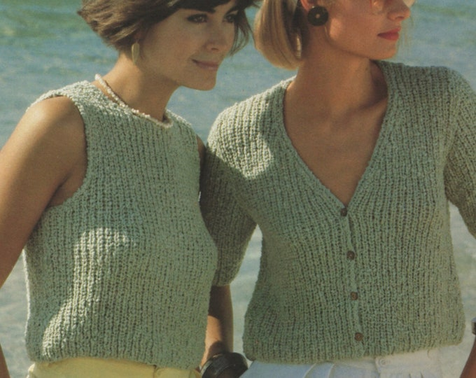 Womens Top and Cardigan Knitting Pattern PDF Ladies 32, 34, 36 and 38 inch bust, Short Sleeves, Vintage Knitting Patterns for Women