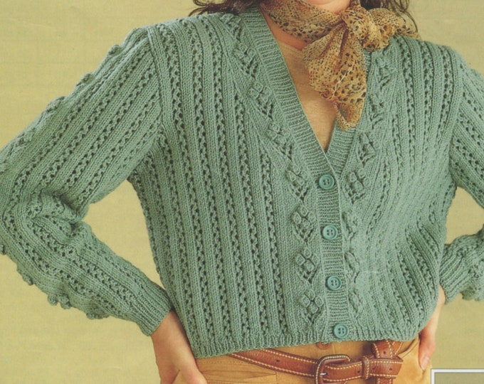 Womens Cardigan Knitting Pattern PDF Ladies 30, 32, 34, 36, 38, 40 inch bust, Round or V Neck Patterned, Vintage Knitting Patterns for Women