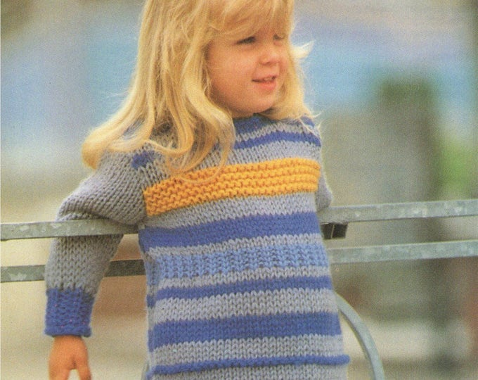Sweater Dress Knitting Pattern PDF Girls 22 - 23, 24 - 25 and 26 - 27 inch chest, Long Tunic Jumper, Vintage Knitting Patterns for Children