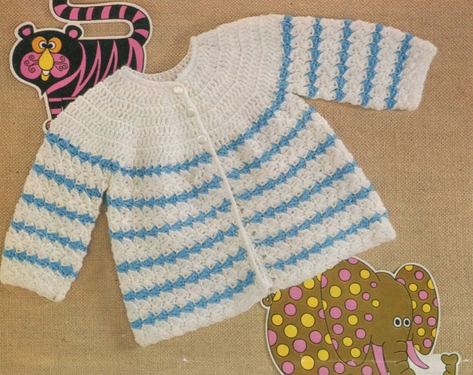 Babies Matinee Coat Crochet Pattern PDF in 2 Designs Baby Boys or Girls 17 and 18 inch chest, Jacket, Vintage Crochet Patterns for Babies