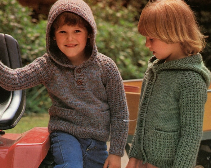 Childrens Hooded Sweater and Cardigan Knitting Pattern PDF for Boys or Girls 20, 22, 24 and 26 inch chest, Hoodie Jumper, epattern Download