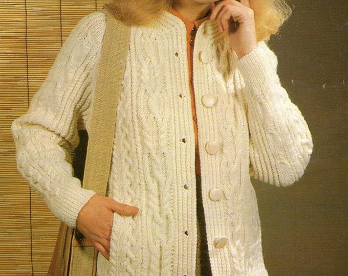 Womens Aran Coat and Beret Knitting Pattern PDF Ladies 32, 34, 36, 38, 40 inch bust, Cable Patterned Jacket, Vintage Aran Knitting Patterns