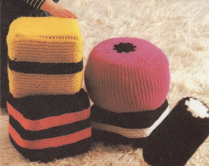 Liquorice Allsorts Cushion PDF Knitting Pattern : Bertie Bassett Seat Cushions . Based on the Candy Sweets . Chunky Yarn . Instant Download