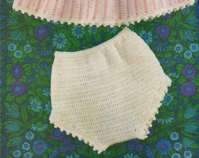 Baby Girls Angel Top and Pants Crochet Pattern PDF : Babies 16, 18 and 20 inch chest . Short Dress . Nappy Cover-ups . e-pattern Download