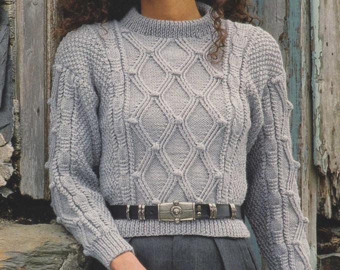 Womens Aran Sweater Knitting Pattern PDF Ladies 28, 30, 32, 34, 36 and 38 inch bust, Aran Jumper, Vintage Aran Knitting Patterns for Women