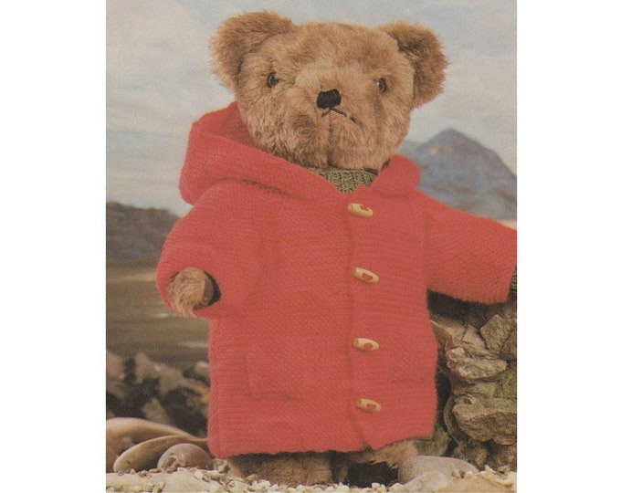 Teddy Bear Clothes Knitting Pattern PDF for 14 - 16 and 18 - 21 inch Teddy, Duffle Coat, Hat and Scarf Teddy Bears Outfit Pattern, Download