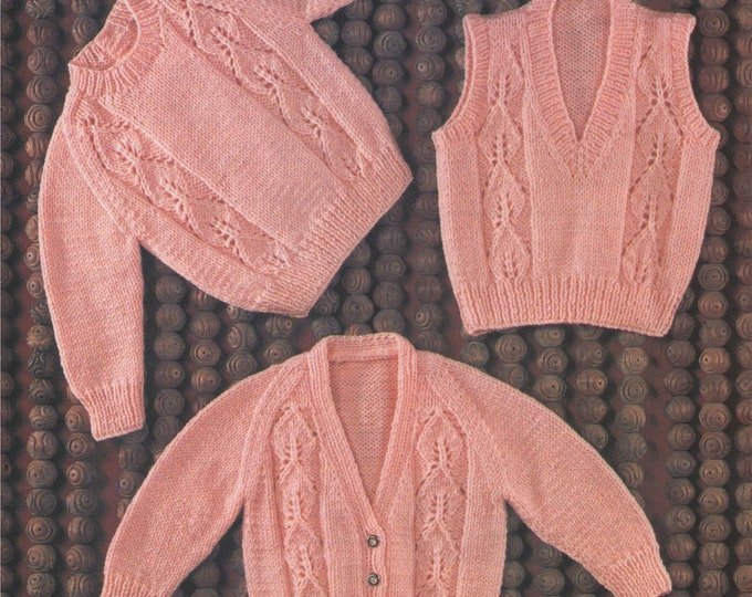 Babies Sweater, Cardigan & Pullover Knitting Pattern PDF Baby Boys or Girls 19, 20, 21, 22 inch chest, Vintage Knitting Patterns for Babies