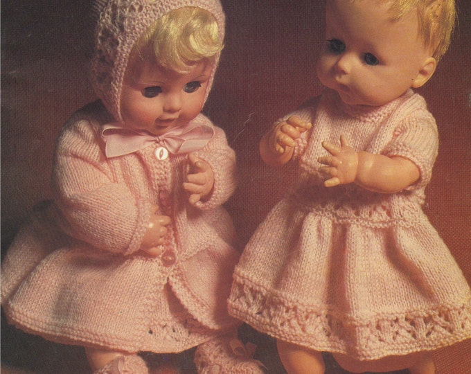 Dolls Clothes Knitting Pattern PDF 14 - 16 & 18 - 20 inch Baby Doll, Tiny Tears, Baby Annabell, Zapf Chou Chou, Vintage Patterns for Dolls